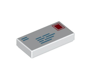 LEGO White Tile 1 x 2 with Addressed Envelope with Stamp and Return Address with Groove (73791)