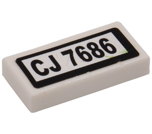 LEGO White Tile 1 x 2 with 'CJ 7686' Licence Plate Sticker from Set 7686 with Groove