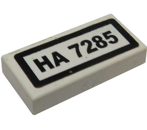 LEGO White Tile 1 x 2 with HA 7285 Sticker with Groove