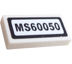 """LEGO White Tile 1 x 2 with """"MS60050"""" Sticker with Groove"""