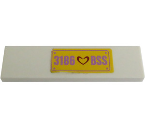 LEGO White Tile 1 x 4 with '3186 BSS' License Plate Sticker from Set 3186