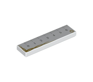 LEGO White Tile 1 x 4 with Ruler Markings and Gold Trim (20307)