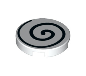 LEGO White Tile 2 x 2 Round with Black Spiral with Bottom Stud Holder (37006)