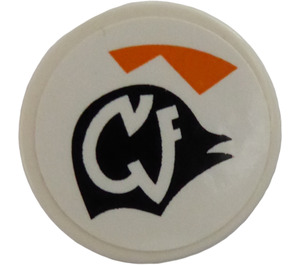 """LEGO White Tile 2 x 2 Round with White Pattern on Black Symbol and Orange Triangles (Left) Sticker with """"X"""" Bottom"""