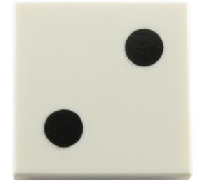 LEGO White Tile 2 x 2 with 2 Black Dots (Dice) with Groove (84571)