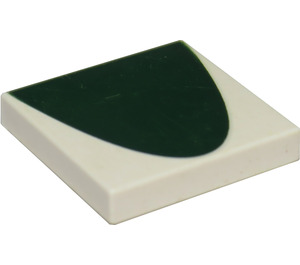 LEGO White Tile 2 x 2 with Half Green Oval with Groove