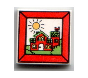 LEGO White Tile 2 x 2 with Red House and Sun with Groove