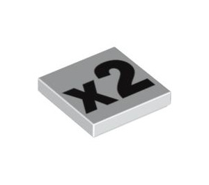LEGO White Tile 2 x 2 with 'x2' Decoration with Groove (90818)