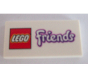 LEGO White Tile 2 x 4 with Friends Logo (13734)