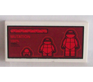 LEGO White Tile 2 x 4 with Ninja Turtles and 'MUTATION 100%' on Dark Red Background Sticker