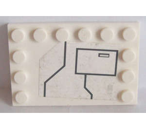LEGO White Tile 4 x 6 with Edge Studs with Black Lines and Large Hatch Pattern Sticker