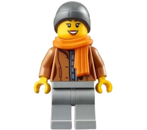 LEGO Woman in Medium Dark Flesh Jacket Minifigure