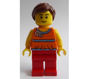 LEGO Woman with Orange Halter Top and Reddish Brown Ponytail Minifigure