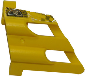 LEGO Yellow 3D Panel 2 with 'F1' and Checkered Pattern Sticker
