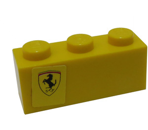 LEGO Yellow Brick 1 x 3 with Ferrari Logo Pattern Left Side Model Sticker