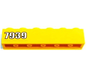LEGO Yellow Brick 1 x 6 with '7939' on Yellow Background (Left) Sticker