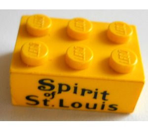 LEGO Yellow Brick 2 x 3 with black letters spirit of st. louis Sticker from set 456 and 661