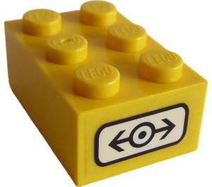 LEGO Yellow Brick 2 x 3 with Black Train Logo Sticker