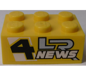 LEGO Yellow Brick 2 x 3 with 'LR NEWS 4' (Both Sides) Sticker