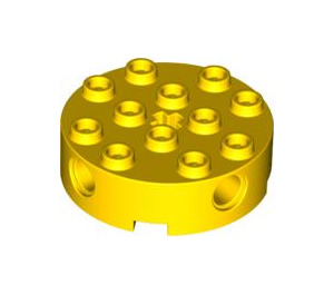 LEGO Yellow Brick 4 x 4 Round with Holes (6222)
