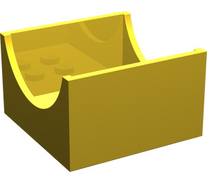 LEGO Yellow Container Box 4 x 4 x 2 with Hollowed-Out Semi-Circle (4461)