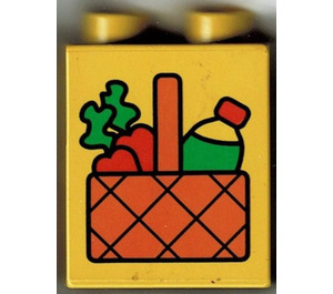 LEGO Yellow Duplo Brick 1 x 2 x 2 with Carrots and Bottle in Picnic Basket without Bottom Tube