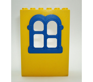 LEGO Yellow Fabuland Building Wall 2 x 6 x 7 with Blue Squared Window