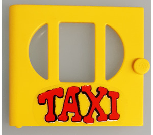 """LEGO Yellow Fabuland Door with """"TAXI"""" Sticker"""