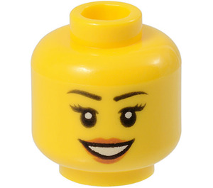 LEGO Yellow Female Head with Eyelashes and Red Lipstick (Recessed Solid Stud) (11842 / 14915)