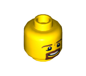 LEGO Yellow Male Head with Brown Squared Beard, Open Mouth with Teeth and White Pupils Pattern (Recessed Solid Stud) (12784)
