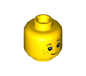 LEGO Yellow Minifig, Head Black Eyelashes, Brown Eyebrows, Freckles Pattern - Stud Recessed (Recessed Solid Stud) (20393 / 30973)