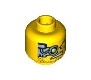 LEGO Minifigure Head with Cyborg Eye and Scars on Cheek (3626 / 64282)