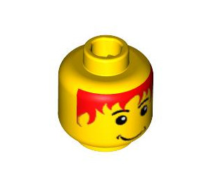 LEGO Yellow Minifigure Head with Red Hair Decoration (Safety Stud) (42523)