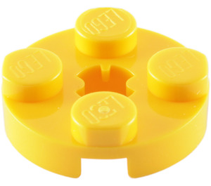 LEGO Yellow Plate 2 x 2 Round with Axle Hole (with 'X' Axle Hole) (4032)
