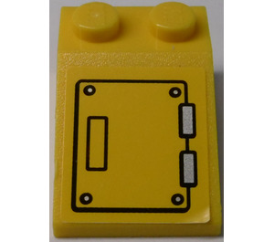 LEGO Yellow Slope 25° (33) 2 x 3 with Hatch and Silver Hinges Sticker