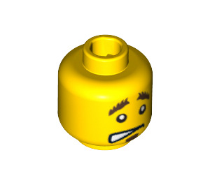 LEGO Yellow Smiling/Cringing Minifigure Head with Bushy Eyebrows (Safety Stud) (10477 / 14755)