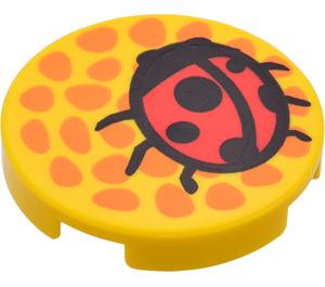 "LEGO Yellow Tile 2 x 2 Round with Ladybird with ""X"" Bottom"