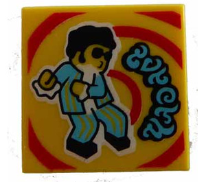 LEGO Yellow Tile 2 x 2 with Groovy Dance with Groove (72867)