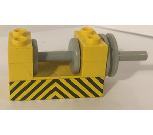 LEGO Yellow Winch 2 x 4 x 2 with Light Grey Drum with Yellow and Black Danger Stripes Sticker