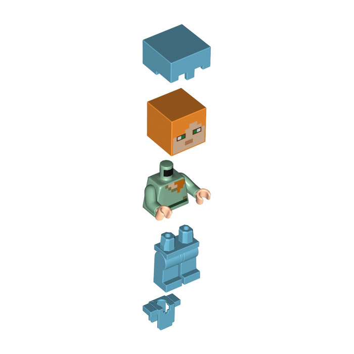 Steve w// Medium Azure Helmet /& Armor LEGO Minecraft MiniFigure Set 21117