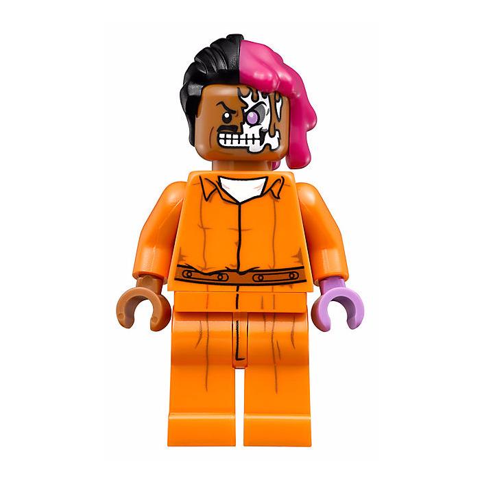 Lego Arkham Two Face With Orange Jumpsuit Minifigure