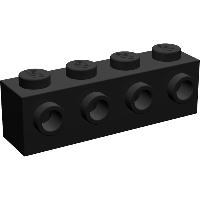 Lego Black Brick 1 X 4 With 4 Studs On 1 Side 30414