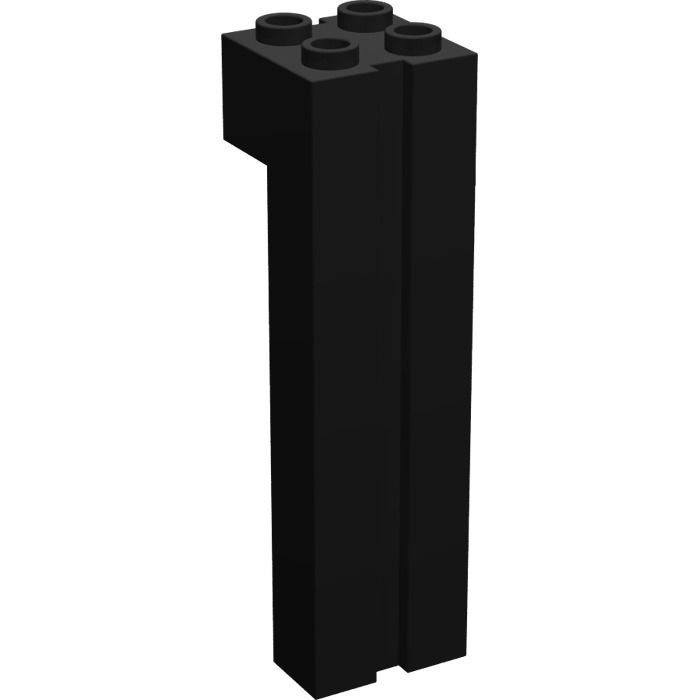 LEGO 6056 2 Black Brick Modified 2x2x6 with Groove
