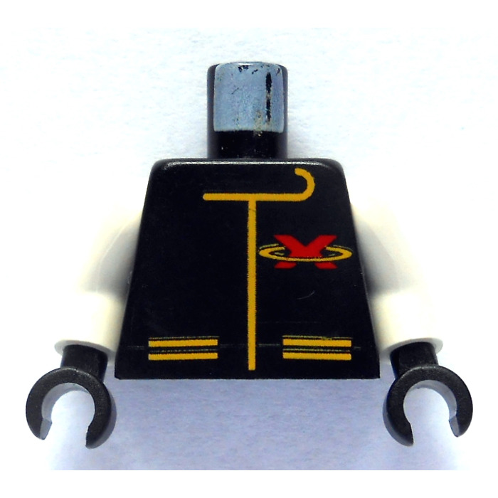 Lego Black Extreme Team Torso With Red X And Yellow Zipper And Pockets With White Arms And Black Hands on Parts Of A Zipper