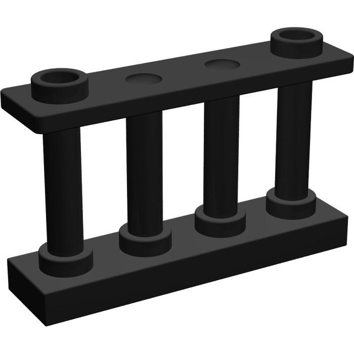 30055 Lego Fence Spindled 1x4x2 Black x4