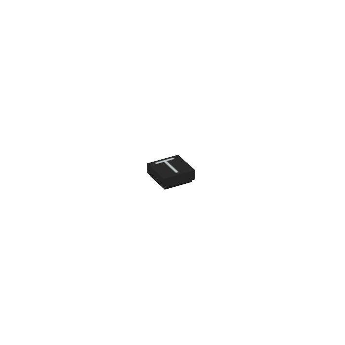 Lego black tile 1 x 1 with letter t decoration with groove for Letter t decoration