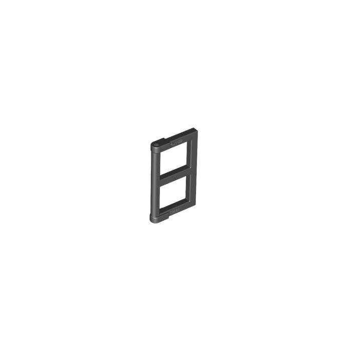 Lego black window 1 x 2 x 3 pane with thick corner tabs for 2 x 3 window