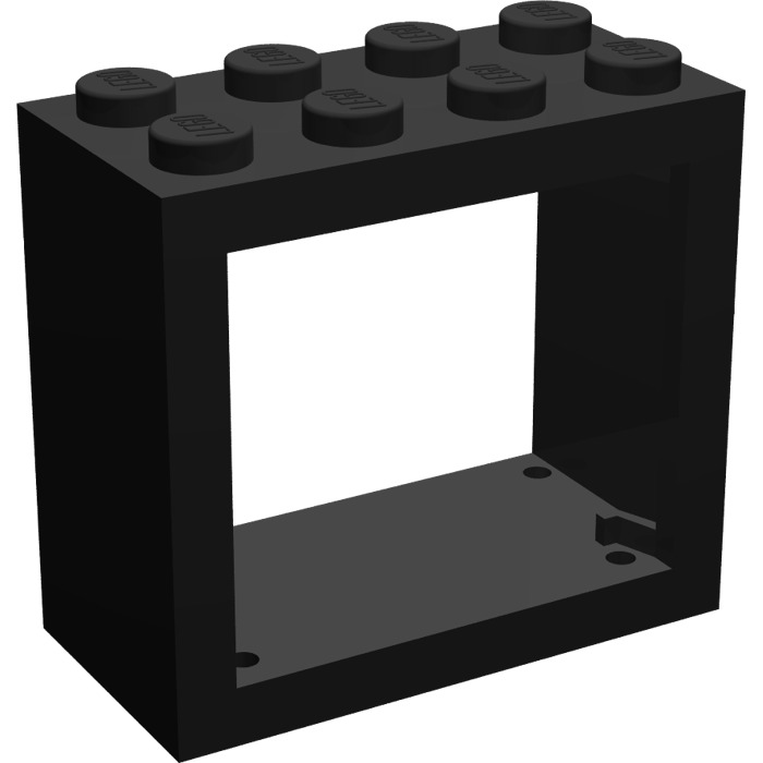 Lego black window 2 x 4 x 3 with rounded holes 4132 for 2 x 3 window