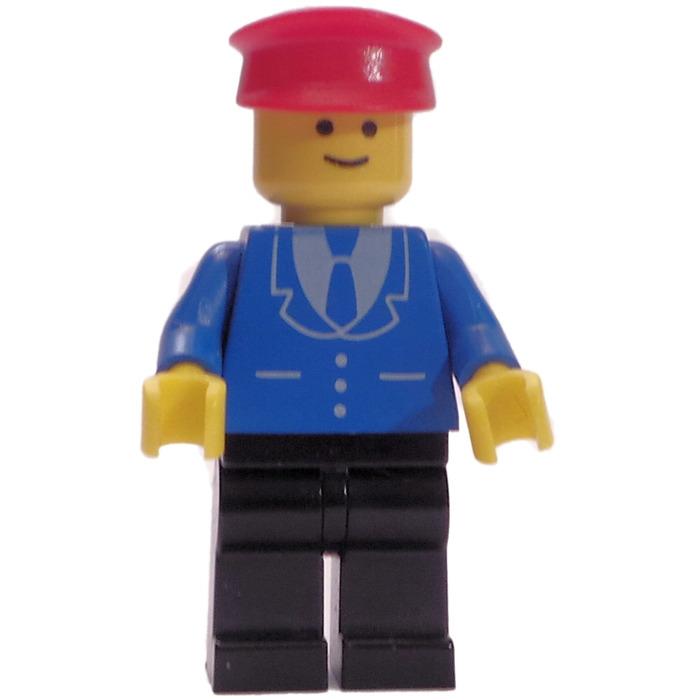 Red Hat Lego mini figure Railway Employee 5 Black Legs