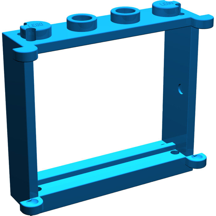 Lego blue window 1 x 4 x 3 with shutter tabs 3853 for 1 x 3 window